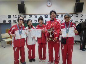 埼玉県チーム 優勝カップと表彰状を持ち笑顔で記念撮影